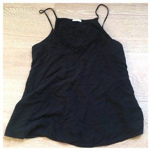 Zara B&W Collection Embroidered Tank Black S